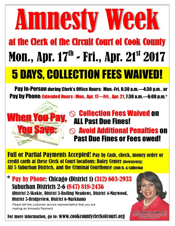 Clerk Dorothy Brown April 2017 Amnesty Week flyer